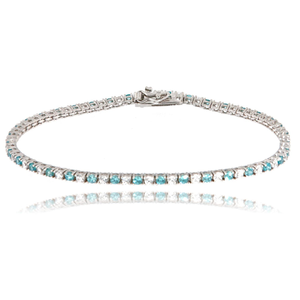 "Bracciale ""Tennis"" in argento 925 con zirconi color acquamarina alternati da 2 millimetri"