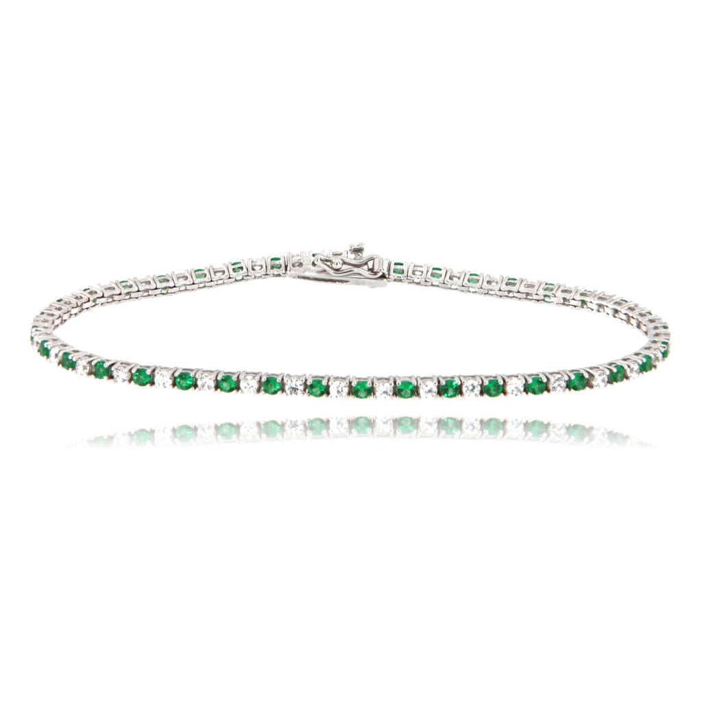 "Bracciale ""Tennis"" in argento 925 con zirconi color smeraldo alternati da 2 millimetri"