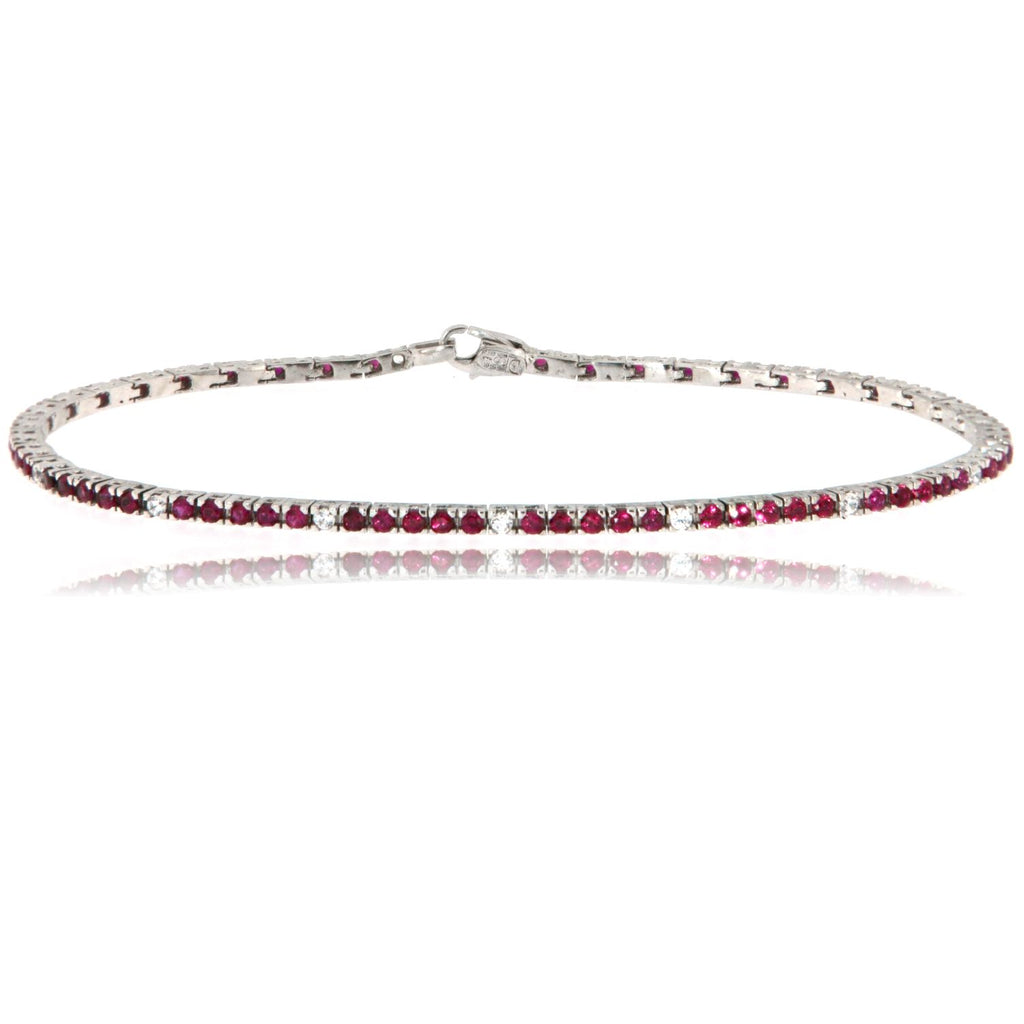 "Bracciale ""Tennis"" in argento 925 da 20 cm con gemme color rubino alternate"