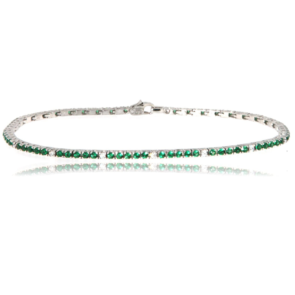 "Bracciale ""Tennis"" in argento 925 da 20 cm con gemme color smeraldo alternate"