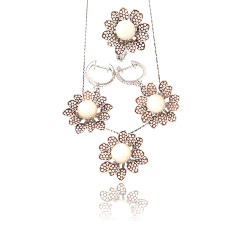 Parure in Argento Sterling a tema floreale