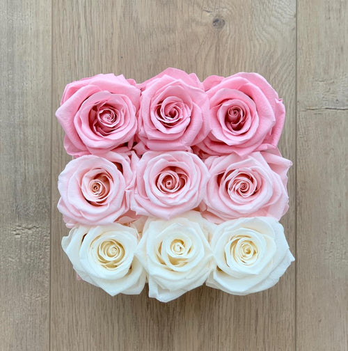 9 Rose Box (Pink Ombre)