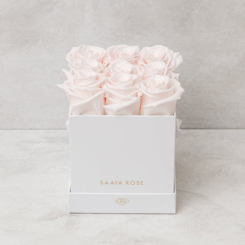 9 White Box (Light Pink Roses)
