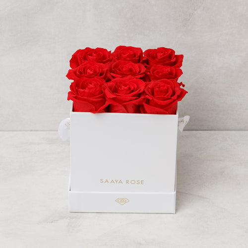 9 White Box (Red Roses)