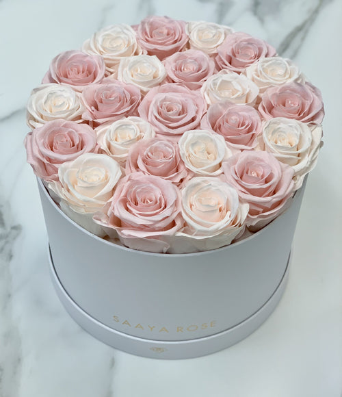 Mixed Blush Pink/Champagne Medium Round Box