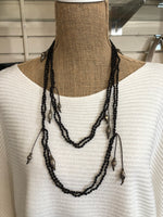 Black Double Layer Wrap Necklace