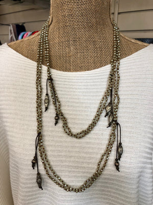 Light Grey Double Layer Wrap Necklace