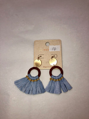 Slate Blue Straw Tassel Drop Earrings