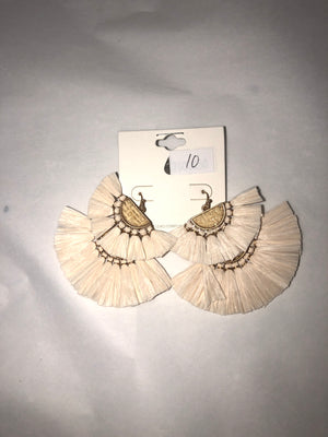 Off White Layered Straw Earrings