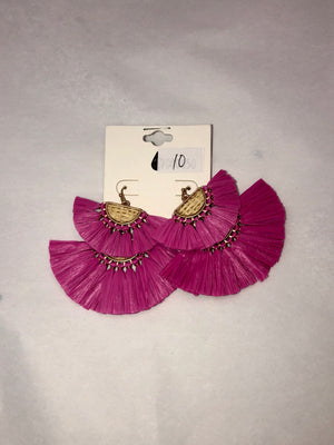 Hot Pink Layered Straw Earrings