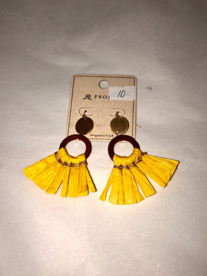 Yellow Straw Tassel Drop Earrings
