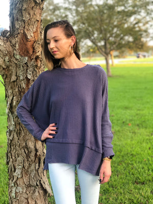 Navy Knit Top