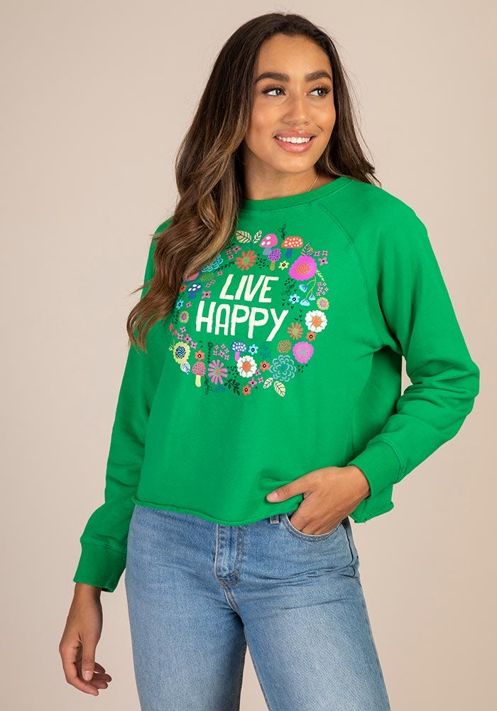 Natural Life Green Cropped Sweatshirt