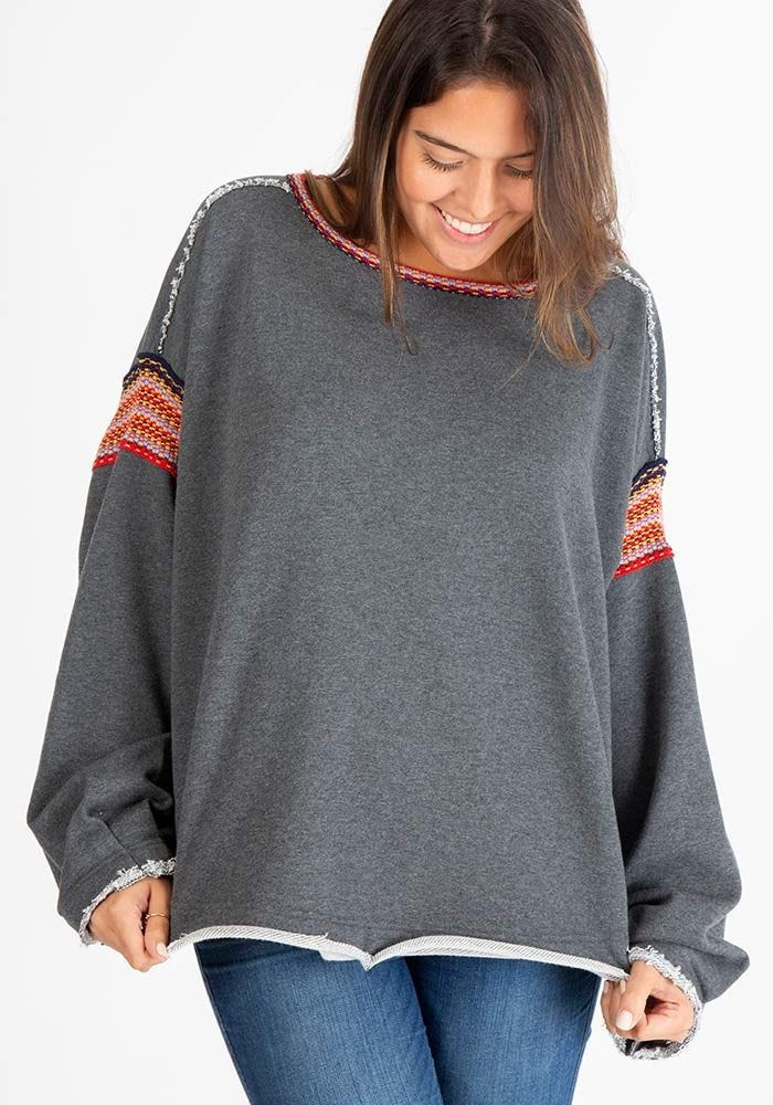 Natural Life Knit Sweatshirt with Trim