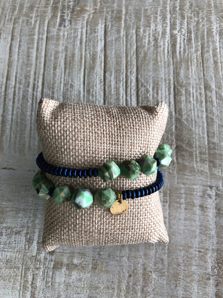 Navy & Green Wrap Bracelet