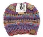 Multi Color Messy Bun C.C. Beanie
