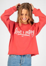 Natural Life Red Cropped Sweatshirt