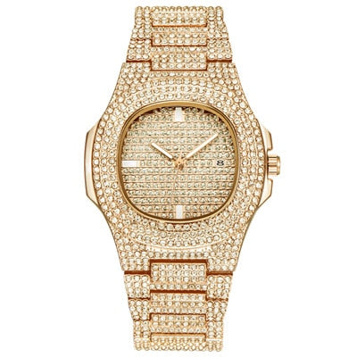 Rhinestone Dourado Gold Diamond Quartz Watch