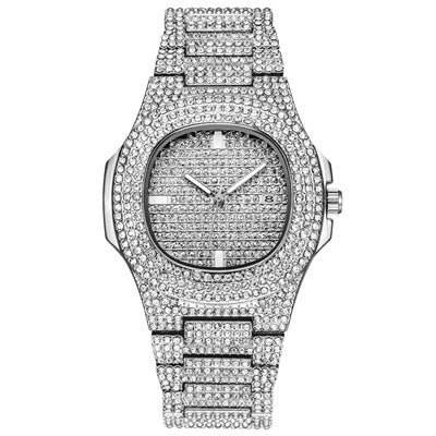 Rhinestone Dourado Silver Diamond Quartz Watch