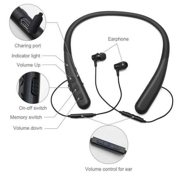 Best Rechargeable Wireless Tv Headphones for Hearing Impaired | Neckband bluetooth retractable hearing aids