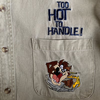 "1998 Warner Bros ""Too Hot To Handle!"" Long Sleeve Button Up Shirt - M"