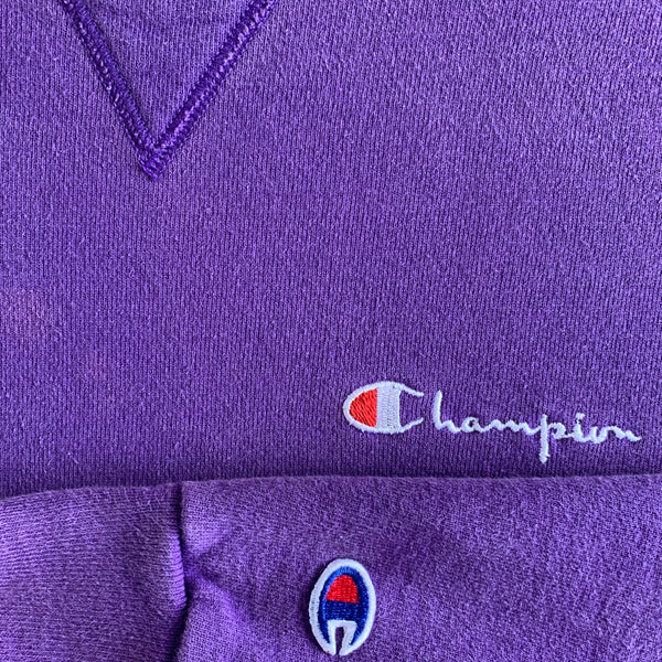 Vintage Champion Embroidered Logo Crewneck - L