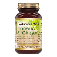 Nature's Boon Turmeric & Ginger with Bioperine 755 Mg 90 Veggie Capsules