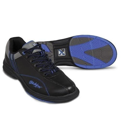 KR Strikeforce Mens Raptor Black Royal Right Hand Bowling Shoes With CMEVA outsole for a light and comfortable fit
