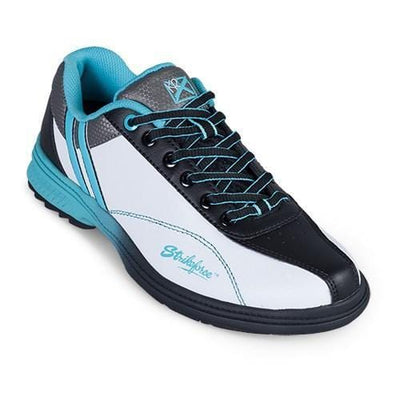 KR Strikeforce Womens Starr White/Black/Teal Right Hand Wide Width Bowling Shoes-BowlersParadise.com