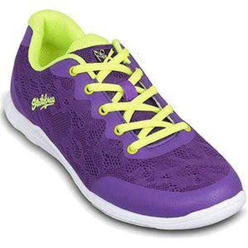 KR Womens Lace Purple Yellow Bowling Shoes