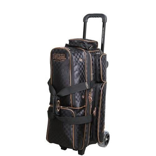 Shop for Storm Rolling Thunder 3 Ball Roller Checkered Black Gold Bowling Bag -Bowlers Paradise