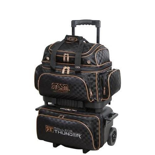 Shop Storm Rolling Thunder 4 Ball Roller Checkered Black Gold Bowling Bag - Bowlers Paradise