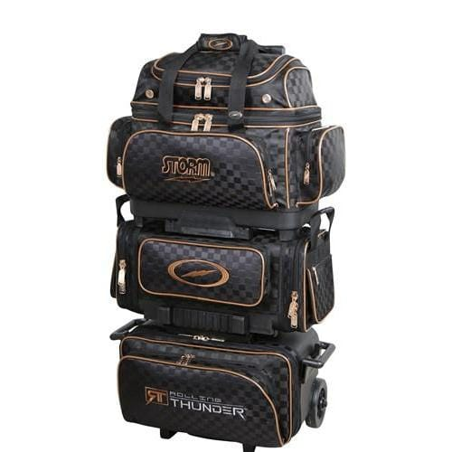 Shop Storm Rolling Thunder 6 Ball Roller Checkered Black Gold Bowling Bag -Bowlers Paradise