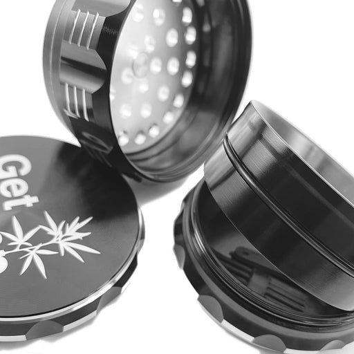 Herb Grinder, 2.5 inch (63.5mm), 4 Piece, Black Aluminum - Gethemp