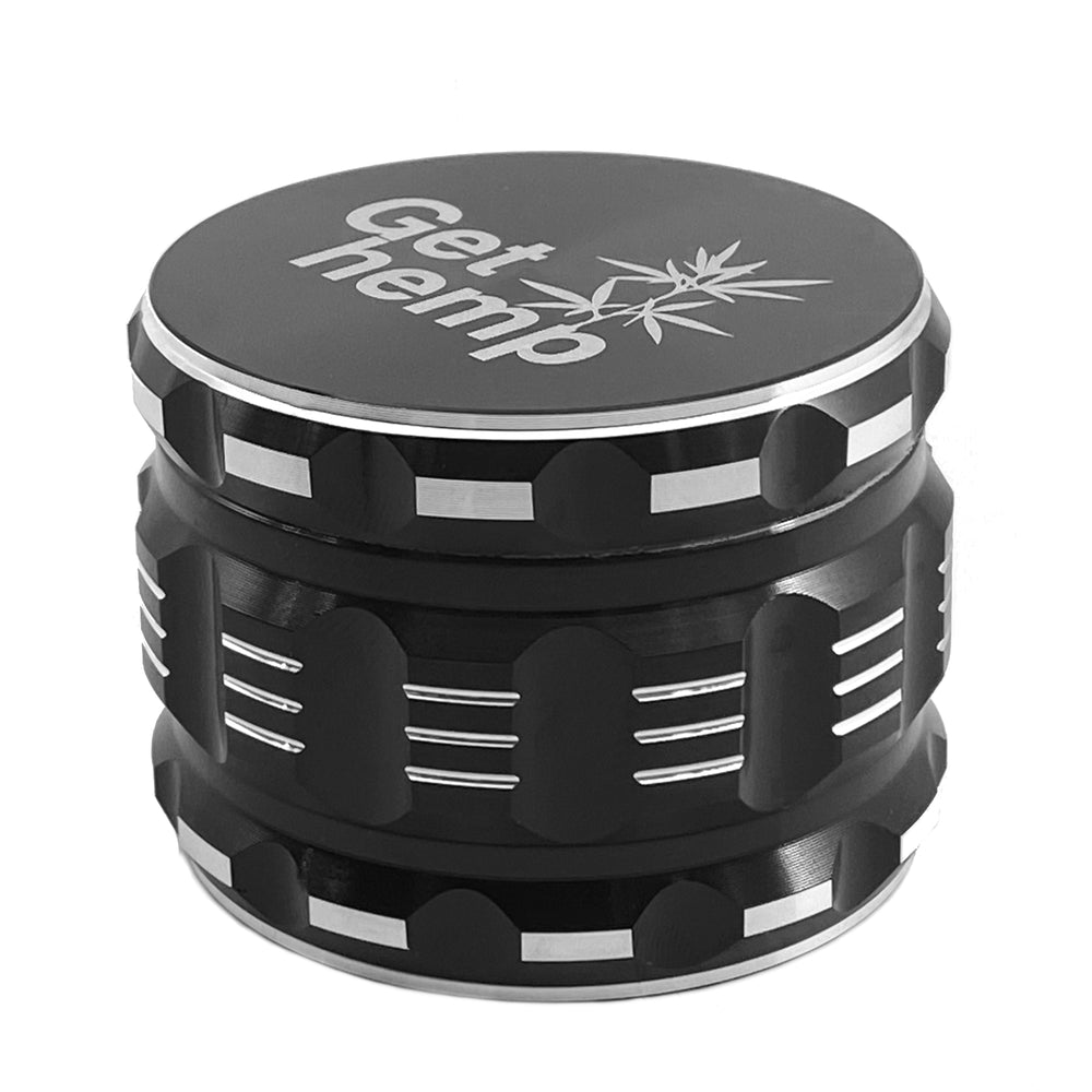 Herb Grinder, 2.5 inch (63.5mm), 4 Piece, Black Aluminum - gethemp.co.uk