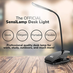 The Official SensiLamp Desk Lamp Reading Book Light [SMART TOUCH] - Rechargeable LED Table Clip on Light for Books, Kindle, Bedside, Night, Living Room, Bedrooms,