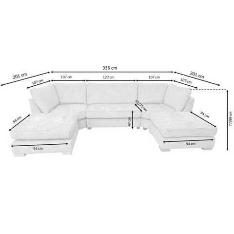 Image of Bishop U-shape Sofa - Corner Sofas and Sofa Sets - RJF Furnishings - Online Furniture Store - Finance Available
