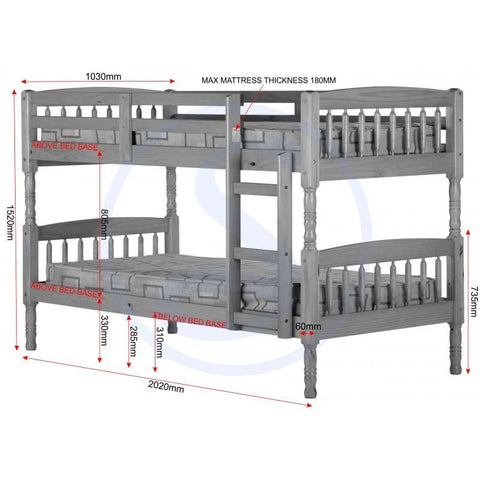 Image of Albany 3' Bunk Bed - RJF Furnishings - Furniture Specialist