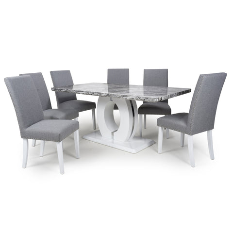 NEPTUNE LARGE MARBLE EFFECT TOP DINING SET - RJF Furnishings