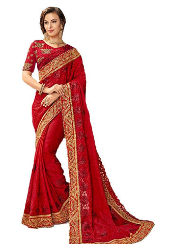 Akalors Indian Sarees Women Party Wear Embroidered Georgette Saree with Ready to Wear Blouse - Apparel | Akalors