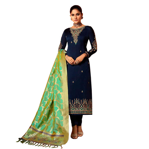 Plus Size Ready to Wear Indian Party Salwar Kameez Suit Women in Navy Blue | Akalors
