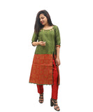 Akalors Banarasi Silk Readymade Designer Kurti with Zari Border in Green