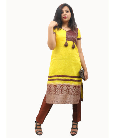 Akalors Banarasi Silk Readymade Designer Kurti with Kanchi Border in Yellow | Akalors