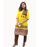 Akalors Banarasi Silk Readymade Designer Kurti with Kanchi Border in Yellow