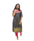 Akalors Banarasi Silk Readymade Designer Kurti with Zari Border in Blue