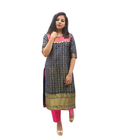 Akalors Banarasi Silk Readymade Designer Kurti with Zari Border in Blue | Akalors