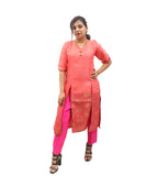 Akalors Banarasi Silk Readymade Designer Kurti with Zari Border in Pink