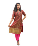 Akalors Banarasi Silk Readymade Designer Kurti with Zari Border in Magenta