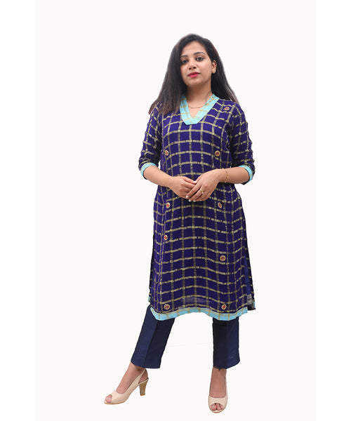 Georgette Readymade Designer Kurti with Light Stone Work in Blue