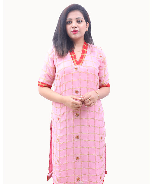 Georgette Readymade Designer Kurti with Stone Work in Pink